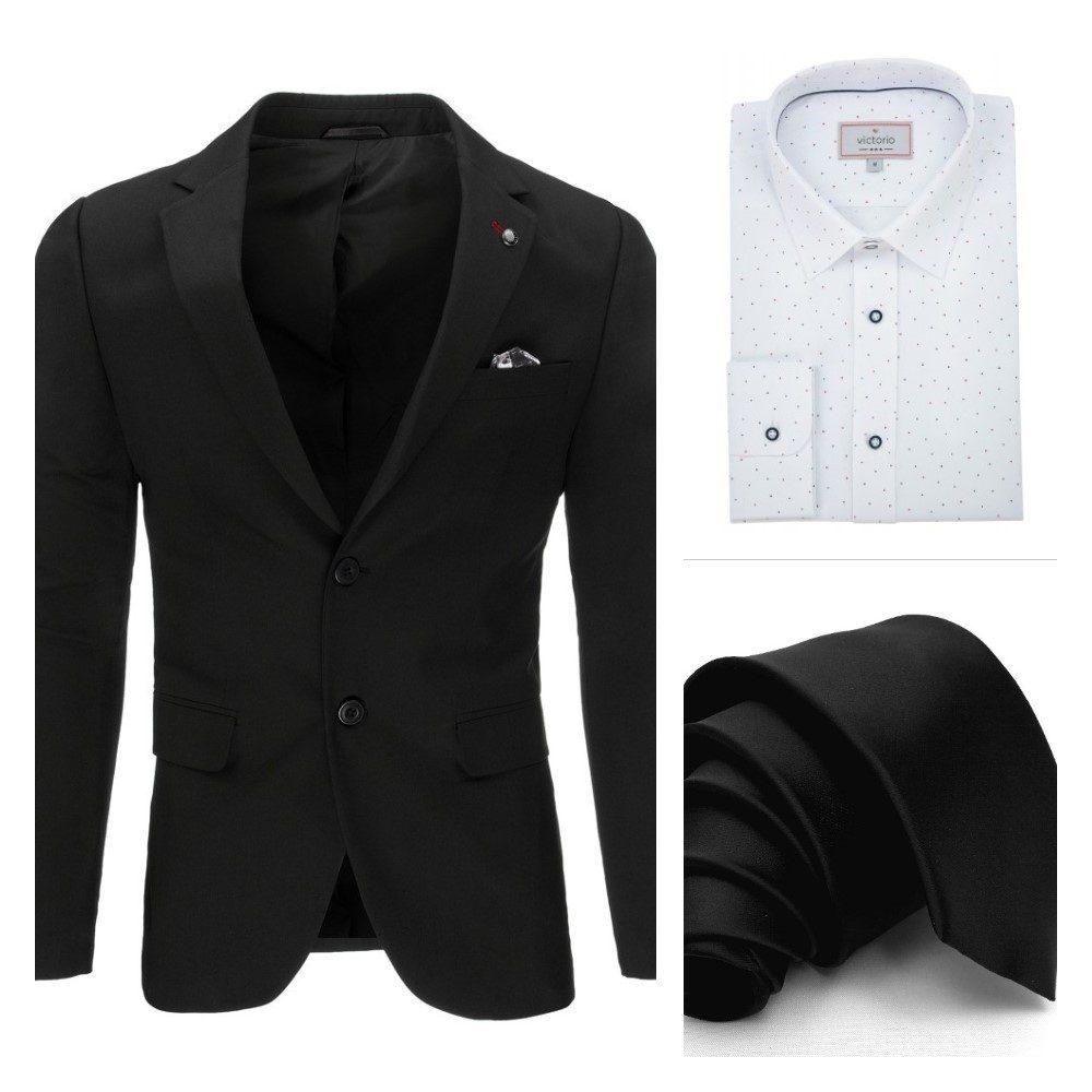 čierne pánske sako, čierna kravata, biela vzorovaná košeľa