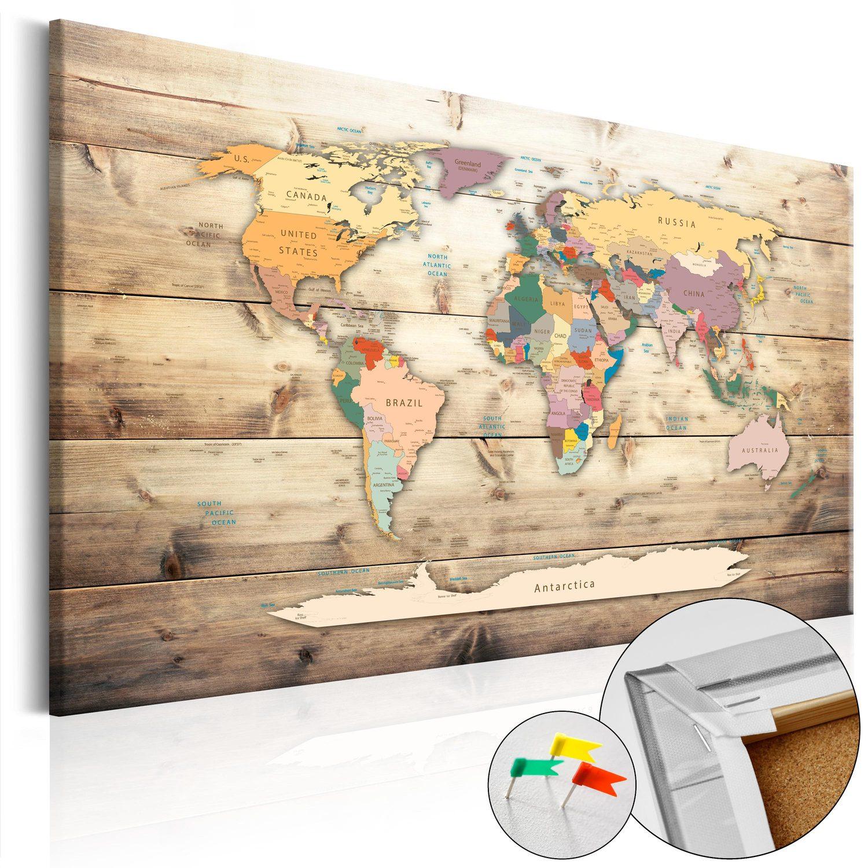 Korkový obraz s mapou sveta