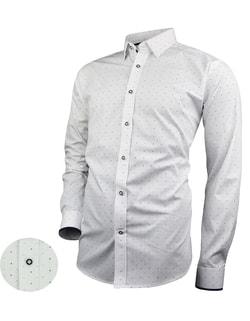 1bd78426bd46 -15% Skladom Štýlová pánska biela košeľa s jemným vzorom V276 ...