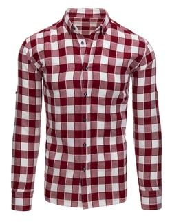 d5bd74b37 -47% Skladom Kockovaná pánska košeľa bordovo-biela ...
