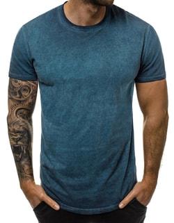 e7aefba9b25d Melírované pánske tričko v indigo farbe JS 100728 ...