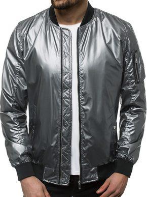 pánska bomber bunda v metalickej striebornej farbe