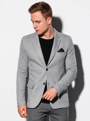 šedé pánske sako, čierne jednoduché tričko