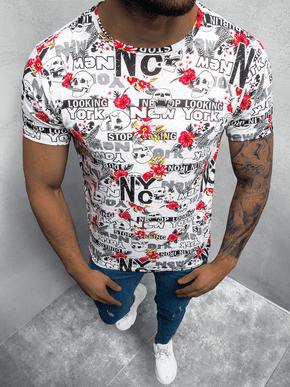 Farebné pánske tričko s trendy potlačou