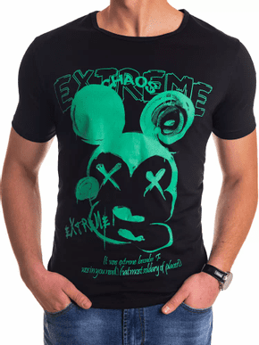 čierne pánske tričko s krátkym rukávom so zelenou potlačou