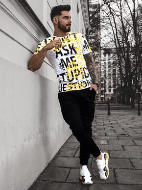 pánske tričko so žlto čiernou potlačou