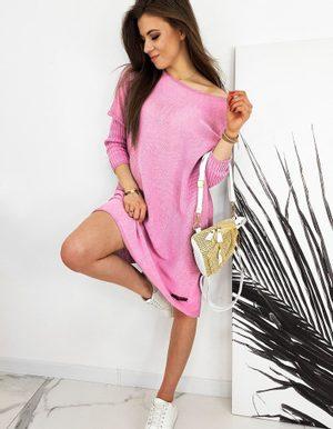 rúžový dámsky oversize sveter