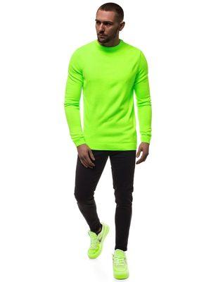 zelený pánsky neónový sveter, čierne pánske rifle