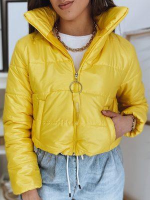 žltá dámska bunda krátkeho strihu