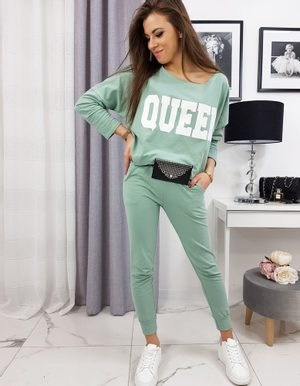 svetlo zelená dámska tepláková súprava s nápisom Queen