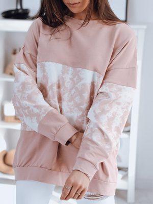 oversized dámska ružová mikina bez kapucne