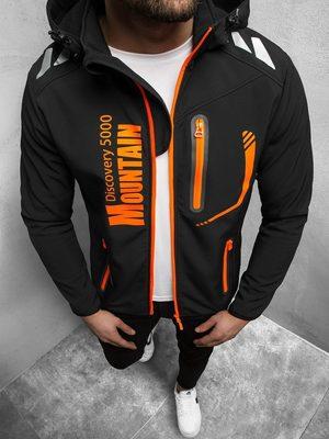 čierno oranžová pánska softshellová bunda s kapucňou
