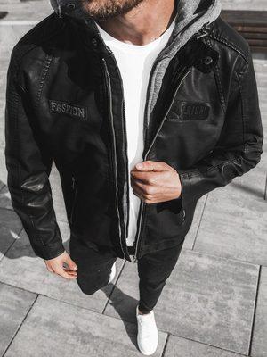 čierna koženková pánska bunda so sivou odnímateľnou kapucňou