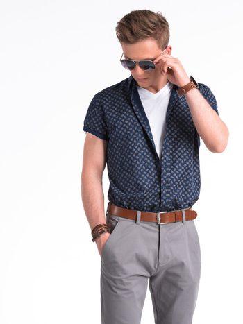 moderná modrá vzorovaná pánska košeľa