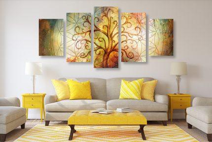 5-dielny obraz s prírodným symbolom stromom života