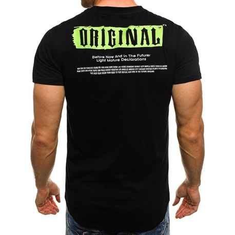 570eb94e463b Štýlové pánske tričko v čiernej farbe s bohatou potlačou J.STYLE SS086