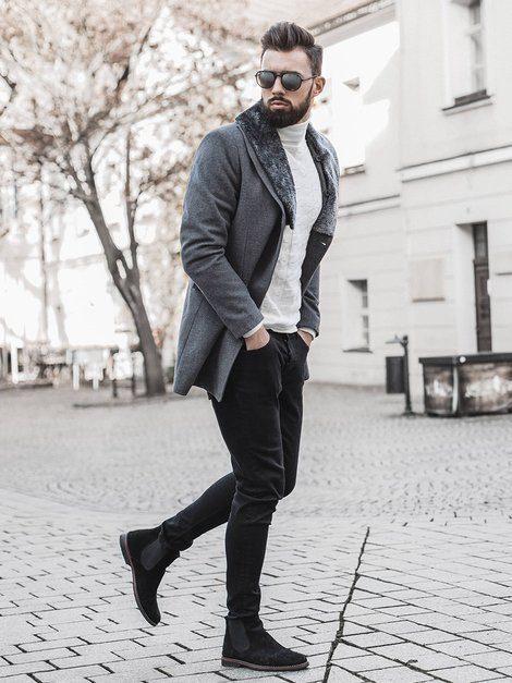 kabát, čierne rifle, čierne Chelsea pánske členkové čižmy