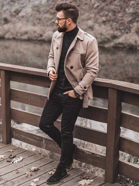 pánsky elegantný zimný kabát