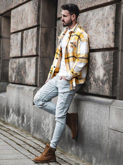 pánska žltá kockovaná flanelová košeľa