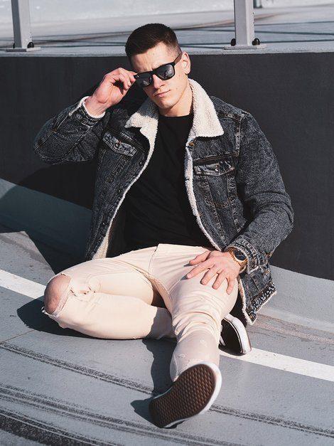 zateplená pánska džínsová bunda