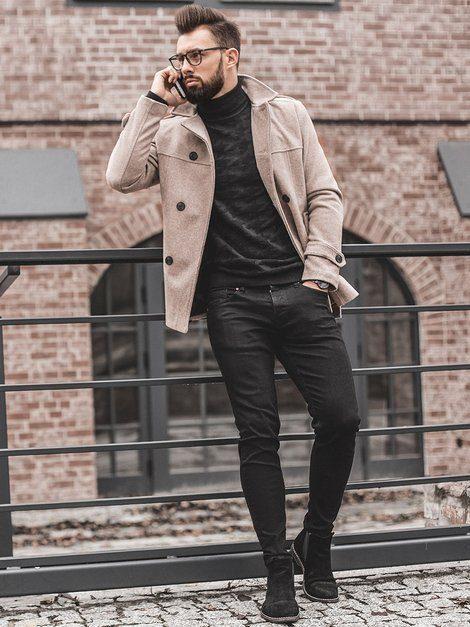 pánsky dvojradový kabát