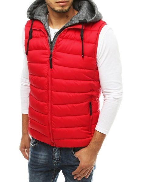 Červená prešívaná vesta s kapucňou