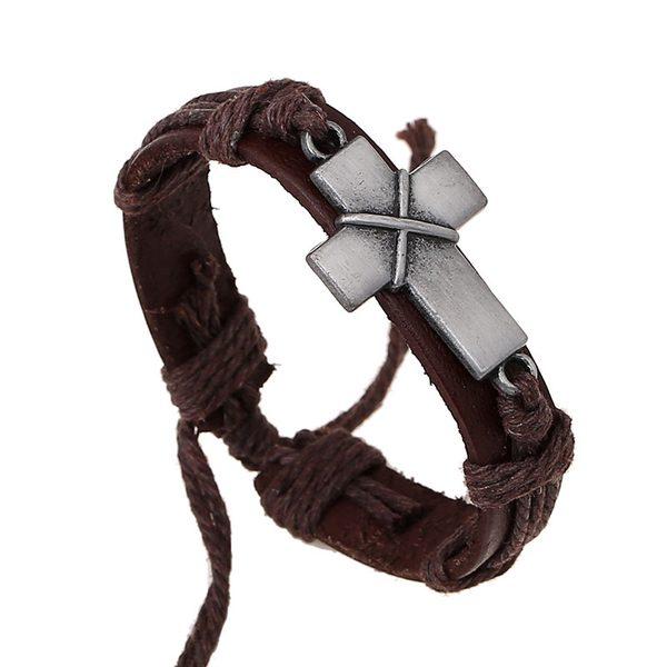 Kožený náramok s krížom