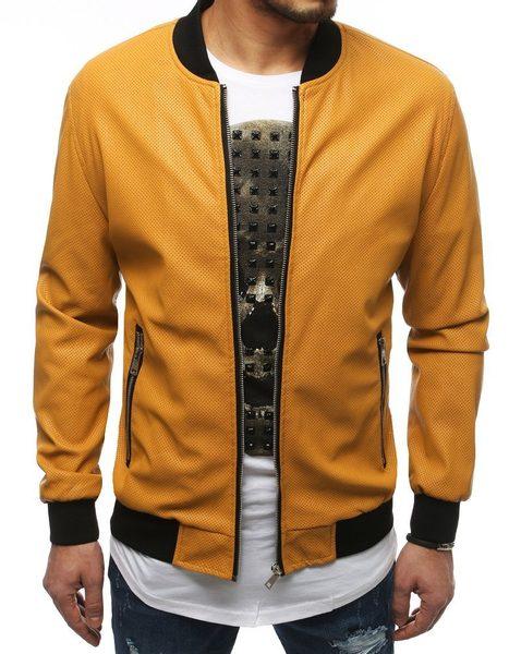 Pánska koženková bunda v kamelovej farbe