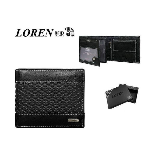 Vzorovaná kožená čierna peňaženka