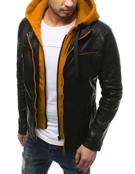Kombinovaná čierno - žltá koženková bunda