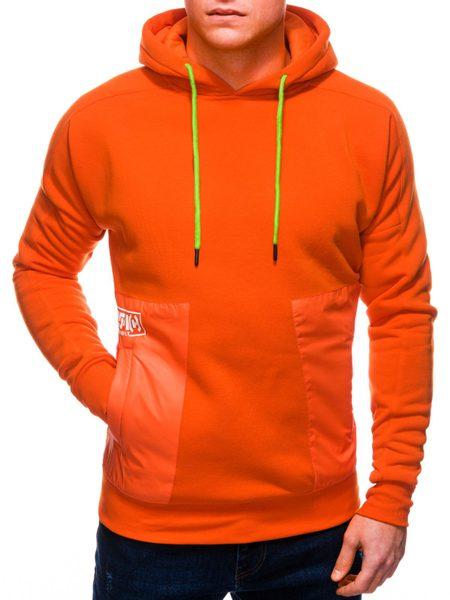 Trendová oranžová mikina s kapucňou B1243