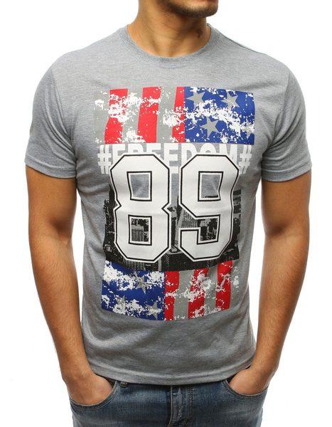 Šedé pohodlné pánske tričko 89