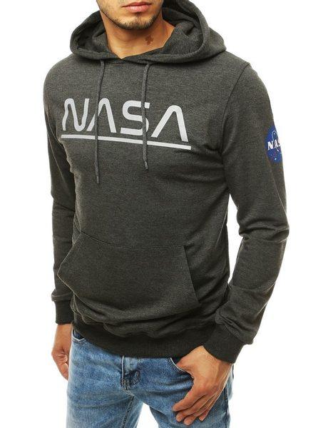 Tmavošedá mikina s kapucňou NASA