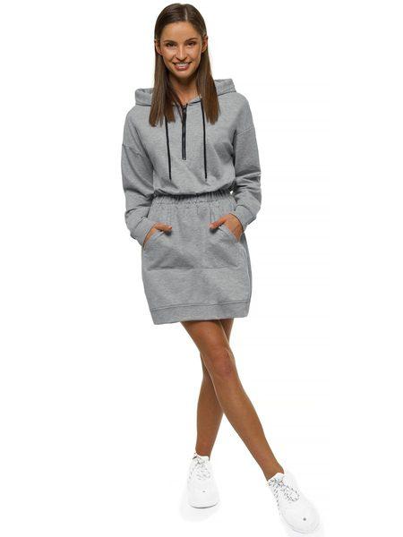 Pohodlné šedé dámske šaty O/MB2043