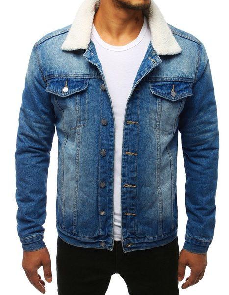 Hrejivá modrá rifľová bunda