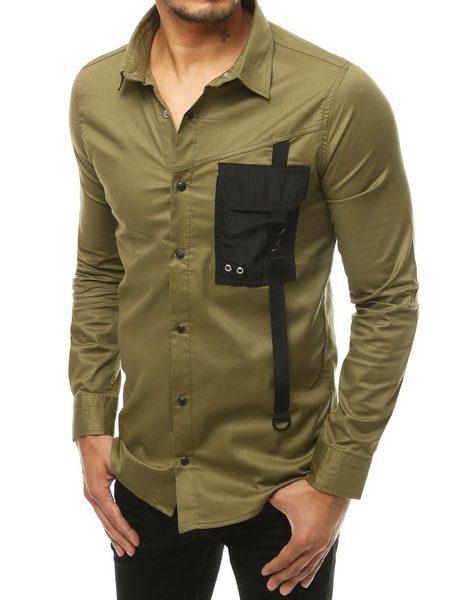 Evolučná khaki košeľa s dlhým rukávom