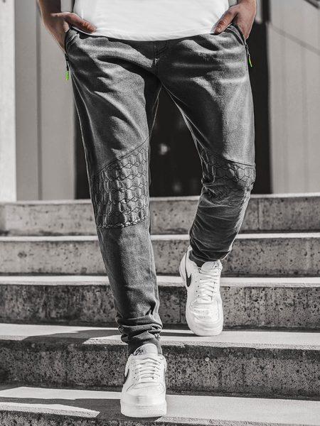 Senzačné čierne rifľové joggery JS/KK1106