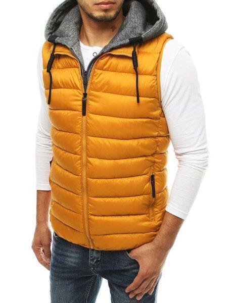 Kamelová prešívaná vesta s kapucňou
