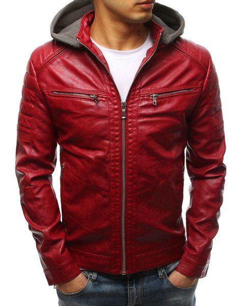 Pánska červená koženková bunda