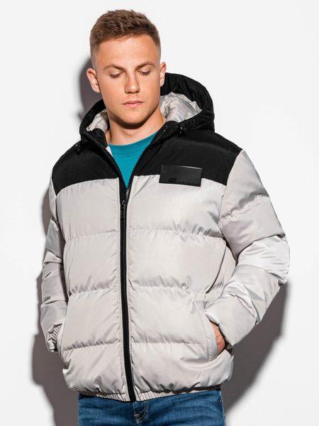 Šedá zimná bunda v štýlovom prevedení C458