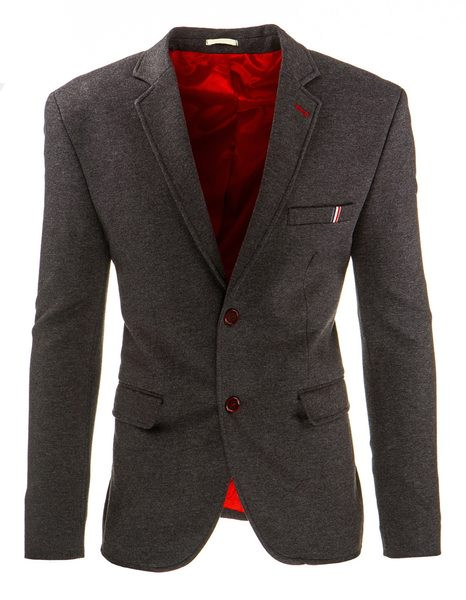 Šedé sako s červenými doplnkami