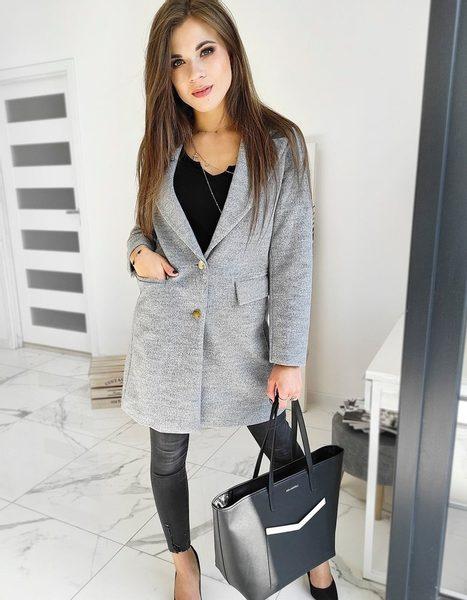 Elegantný dámsky svetlošedý kabát Bella