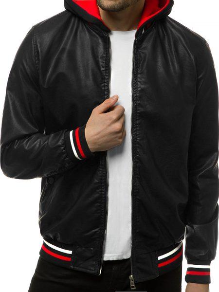 Pánska čierna koženková bunda N/6189Z