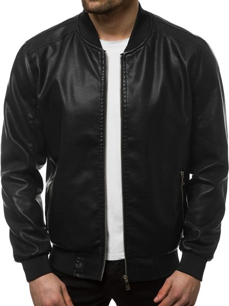 Čierna koženková bunda JB/JP1147Z