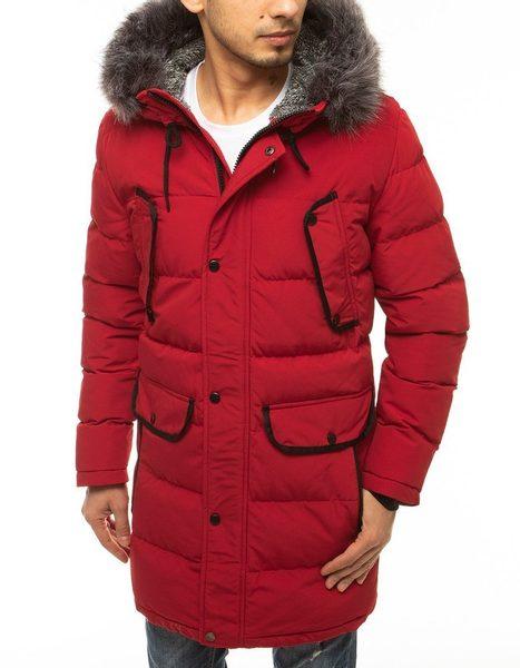 Elegantná červená zimná bunda