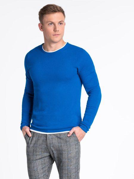 Modrý bavlnený pánsky sveter e121