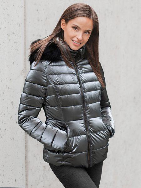 Strieborná trendy dámska zimná bunda O/DK030/45Z