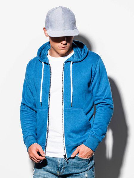 Trendy modrá mikina na zips B977