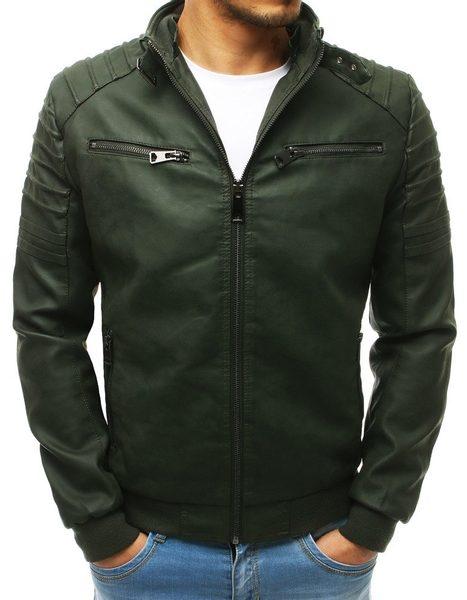 Pánska koženková bunda v zelenej farbe
