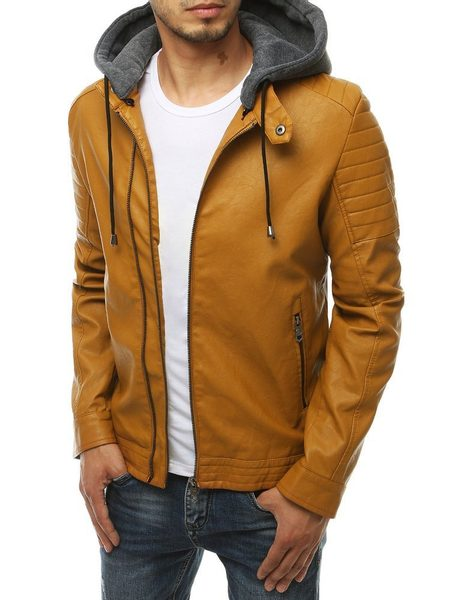 Kamelová koženková bunda s kapucňou